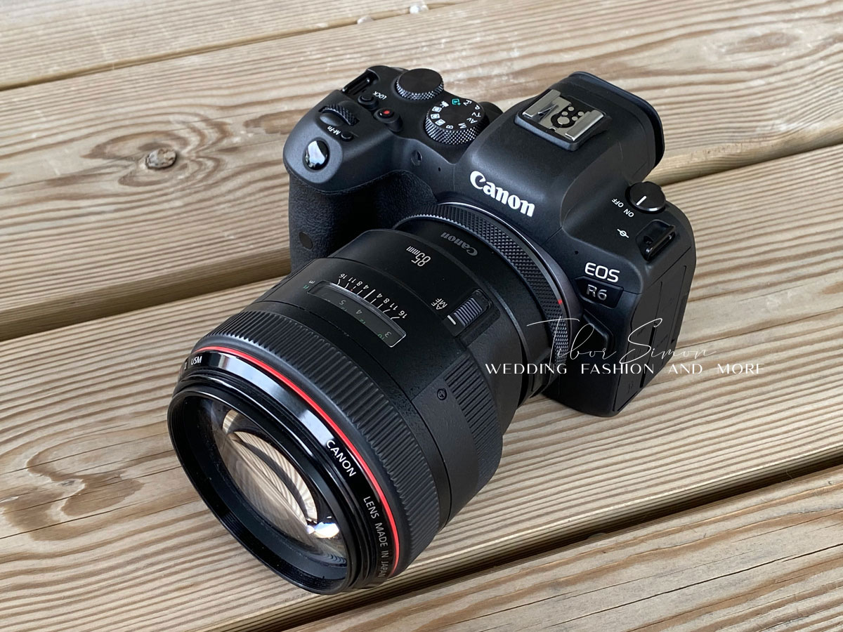 Canon R6 és egy 85mm F1.2 L II objektív.