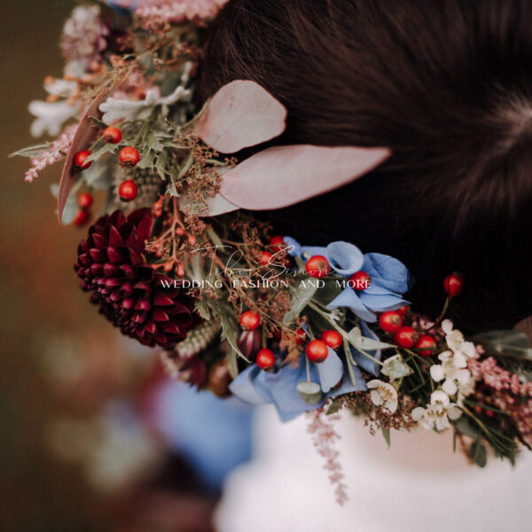 Kreatív esküvői fotózás menyasszonyi fejdísz.